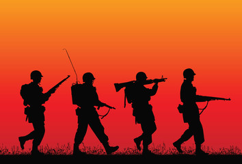 D-day. Vector silhouette of soldiers.