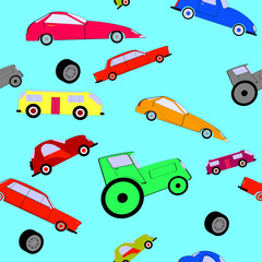 Colorful toy car isolated on blue background seamless