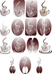 Caffè Astratto-Abstract Coffee-Café Abstrait-15 Elements-Vector