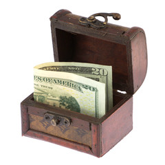 Twenty dollars banknote in old casket