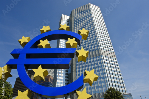 European Central Bank with Euro Sign, Frankfurt