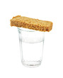 Glass of water and bread isolated on white background