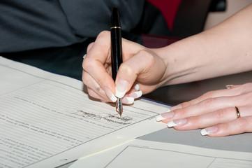 sposa alla firma