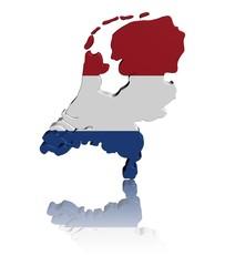 Netherlands map flag 3d render with reflection illustration