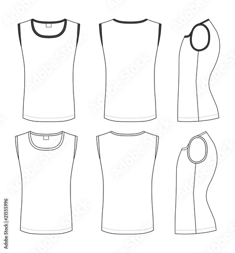shirt outline front and back. Vector t-shirt design template