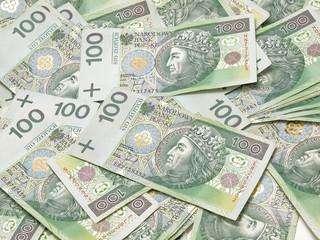 Scattered polish banknotes.