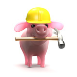 Work pig in safety helmet