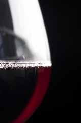 close-up of glass of red wine