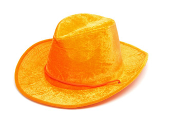 orange western hat over white background