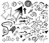 Fototapety Big set of various black doodle arrows