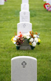 Crosses on Military Headstones in National Cemetery poster