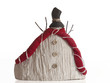 Wooden Snow Man Figurine on White