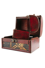 two open wooden chests