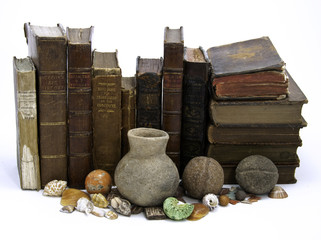 Row of Books and Artifacts