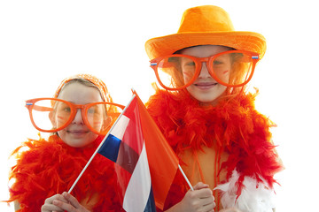 two girls in orange outfit over white background