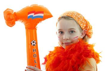 girl with orange hammer over white background