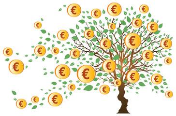 Arbre à Euros et Feuilles Vertes