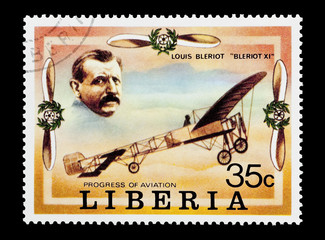Liberian stamp featuring avaition pioneer Louis Bleriot