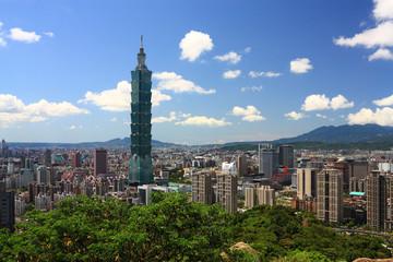 sunny Taipei scene with taipei101.