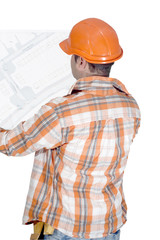 builder looking at map