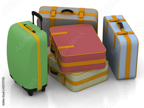 Suitcases isolated on white background.