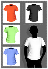 Men's  t-shirt template with human body silhouette.