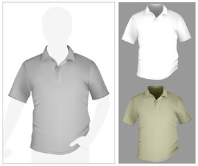 Men's polo shirt template with human body silhouette.