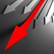 red financial arrows