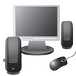 The monitor, computer mouse, and musical equipment.