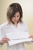 single woman annalyzing unemployed message poster