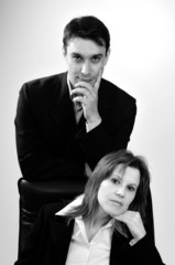 two business people portraits