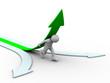 man climb green arrow. Isolated 3D image