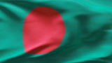 Creased Bangladesh flag in wind with seams and wrinkle poster