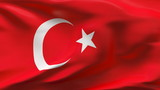 Creased Turkey flag in wind in slow motion poster