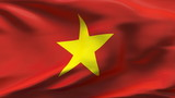 Creased Vietnam flag in wind with seams and wrinkle poster