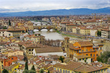 Beautiful view of Flornce, Arno River and famous Ponte Vecchio. poster