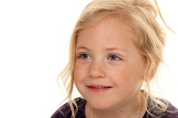 Childs head. Portrait of a little girl.