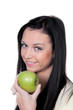 Woman with apple, fruit and vitamins in diet