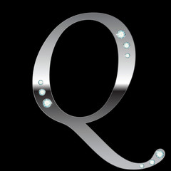 silver metallic letter Q
