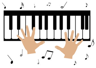 Illustration of two hands, a piano and music notes