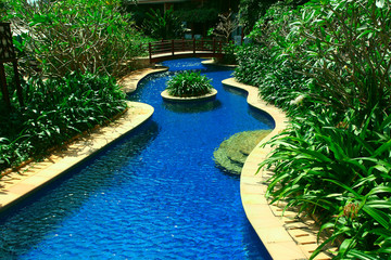 Swimming pool in a tropical resort