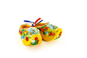 Yellow Dutch shoes isolated on white