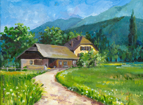 Obraz w ramie Village landscape oil painted.