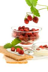 Crispbread and wild strawberries.