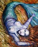 Mermaid acrylic painted. poster