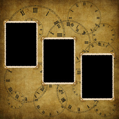Vintage card from old paper and clock on the abstract background