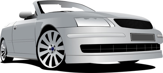 Silver cabriolet on the road. Vector illustration