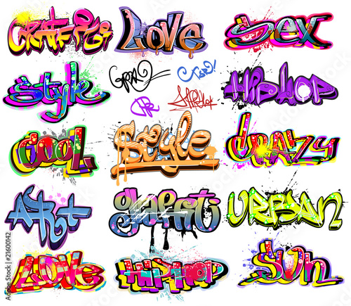 Graffiti vector background collection. Hip-hop design - 21600142