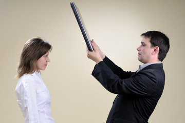 two business people simulating conflict