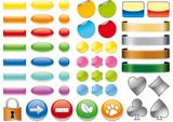 Fototapety Pulsanti e icone web 3D vari colori